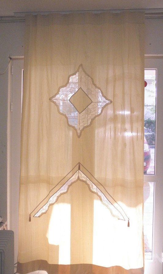 Curtain panel ecru silk Victorian French by ClassyInteriorsDeco