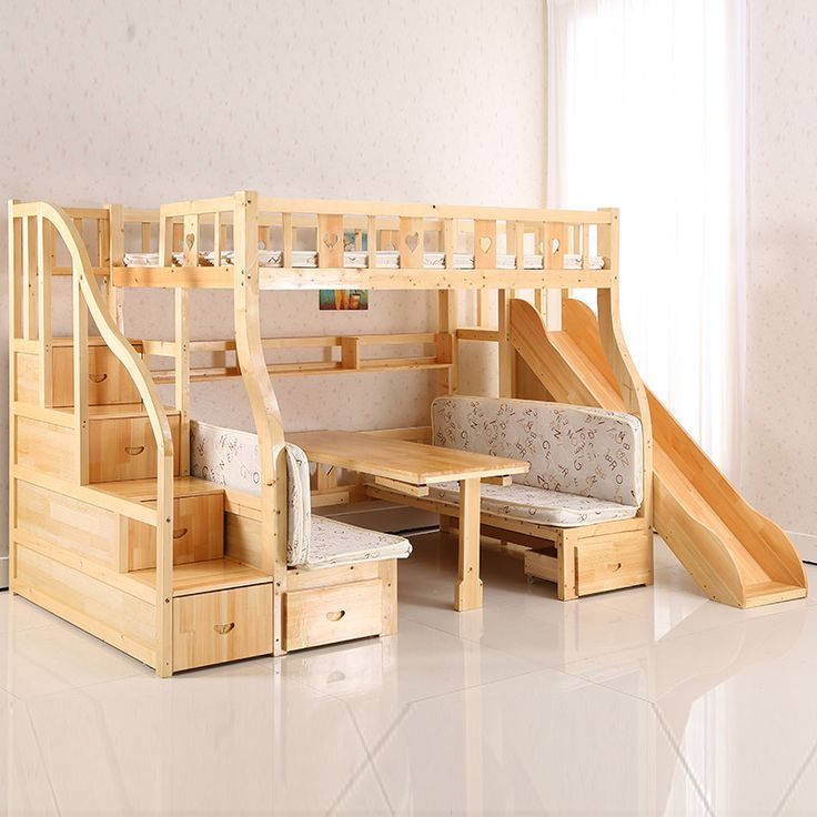 The Children's bunk bed wood multifunction children slides can be customized Doubles