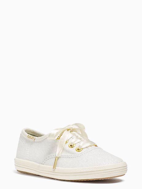 Keds Kids X Kate Spade New York Champion Glitter Toddler Sneakers, Cream - Size 5.5