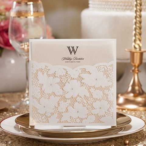 graceful white floral pearl laser cut wedding invitations EWWS018 as low as $2.29