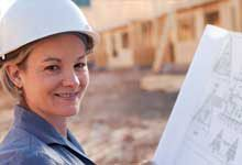 Female contractor in hard hat