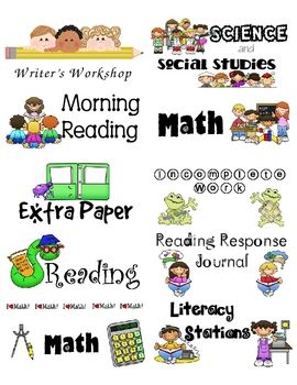 2x4 sized labels to use for student folders and spirals. This set has labels for Math, Reading, Science, and more....all FREE:)
