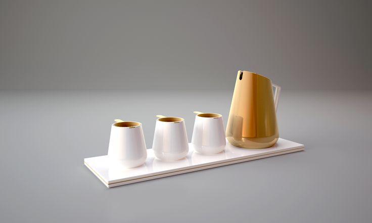 """Menzione d'onore (categoria professionisti): Geoffroy Destruel. Progetto: """"Tea Set"""".  Il ritorno del rame all'interno delle cucine può avvenire per le sue valenze estetiche. Così si verifica per questo servizio da té, elegantemente nostalgico, ove alla porcellana bianca si uniscono filtri individuali per le foglie aromatizzate realizzati in rame"""