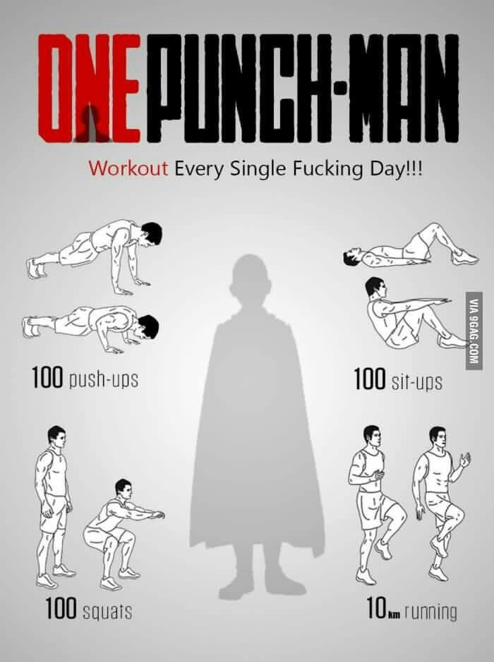 One Punch-Man, workout every single f***ing day!!!, text, Saitama; One Punch Man