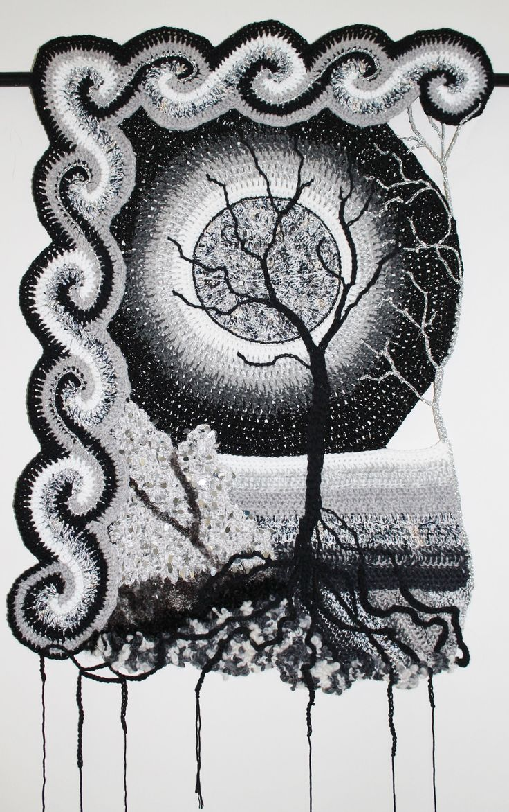 La Luna. Freeform crochet wall hanging. Kaye Adolphson Designs