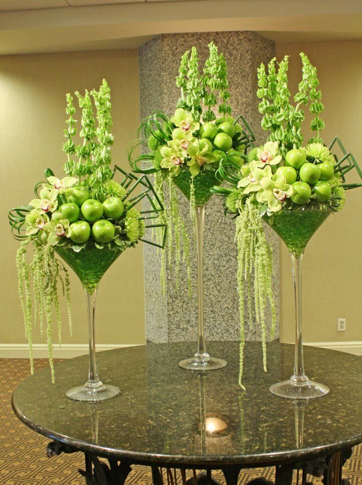 """Apple Martini"" tall, green, centerpieces."