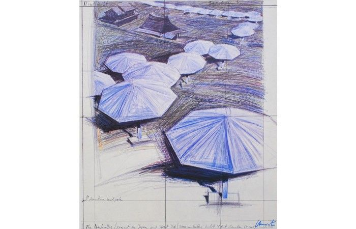 LOT 56 - JAVACHEFF CHRISTO (CHRISTO) - Umbrellas [1986] - Colour offset lithograph - 64.5 × 55 cm (25.4 × 21.7 inch) - Estimate €300 - €500 http://lavacow.com/current-auctions/lavacow-christmas-auction/umbrellas.html#sthash.Ho53n8HV.dpuf