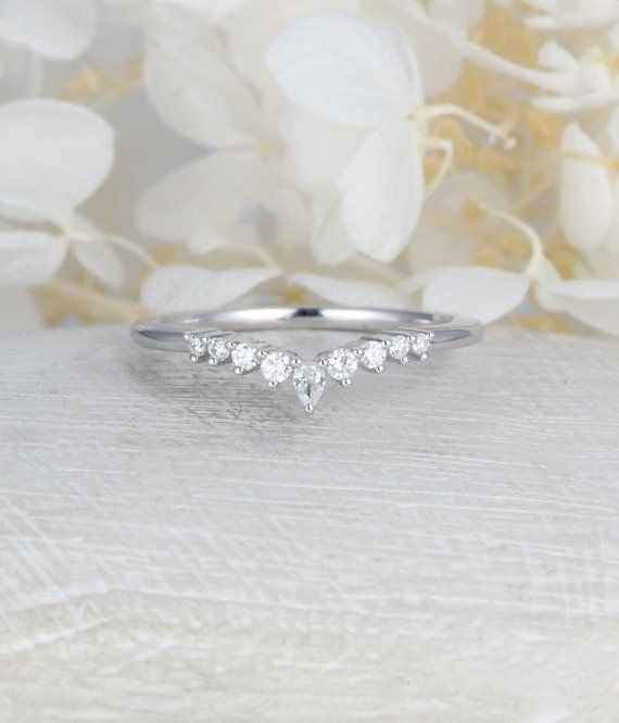 Curved Wedding Band Vintage White Gold Diamond Ring Unique Bridal