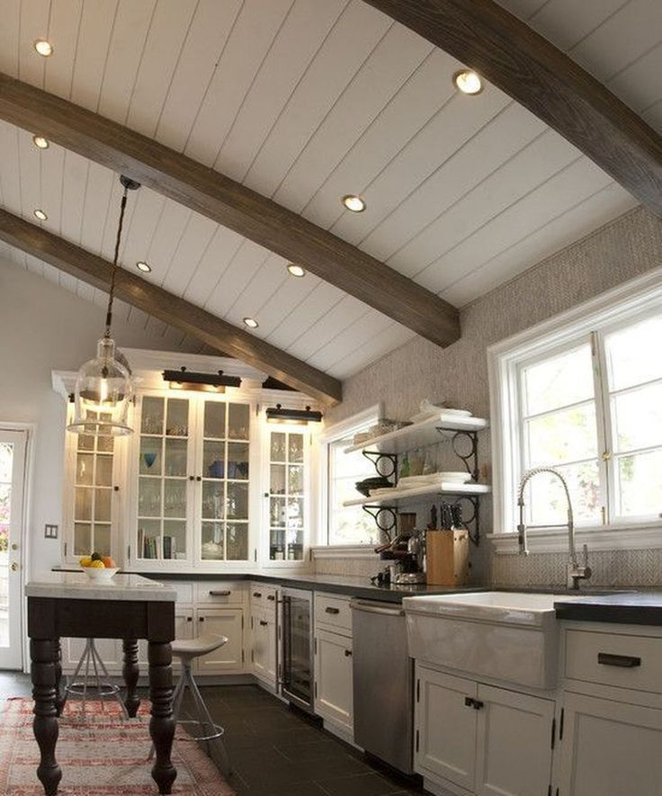 Beams With White Boards Rustic Kitchen Design Wooden Ceiling Design Kitchen Ceiling