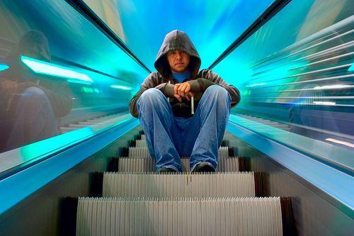escalator. motion blur.