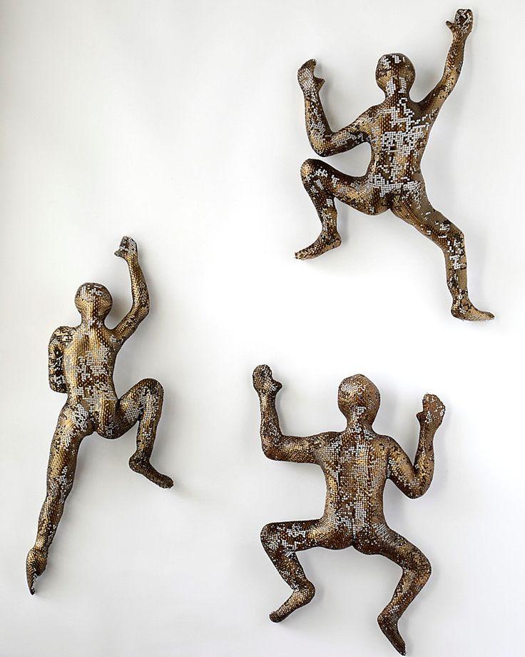 Abstract Metal Wall Art Sculpture Climbing Man Sculpture