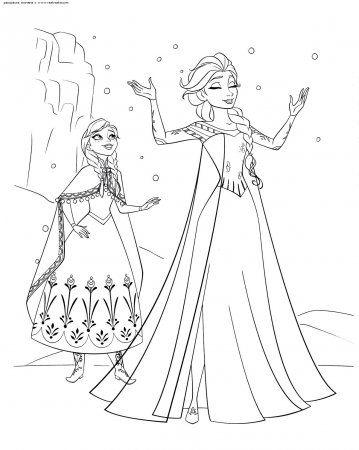 """Раскраски """"холодное сердце Эльза и Анна"""" скачать и распечатать бесплатно"""
