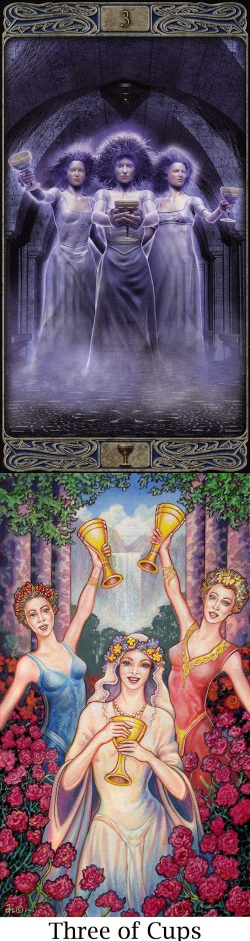 Three of Cups: friendship and herd mentality (reverse). Ghost Tarot deck and Sacredisle Tarot deck: free tarot reading predictions, tarot card reading in hindi free online vs tarotjournaling. Best 2017 cartomancy decks and cartomancy. #androidapplication #iosgame #ghost