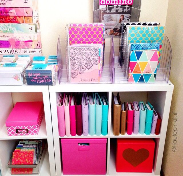 The cube with the box for storage... Have a box for office stuff and a box to school stuff - too colorful for me tho