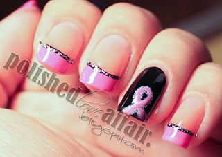 Breast Cancer Awareness Nail Design: Breast Cancer Nails, Nails Art, Breast Cancer Awareness, Pink Ribbons, Nails Ideas, Awareness Months, Hair Nails, Nails Designs, Awareness Nails