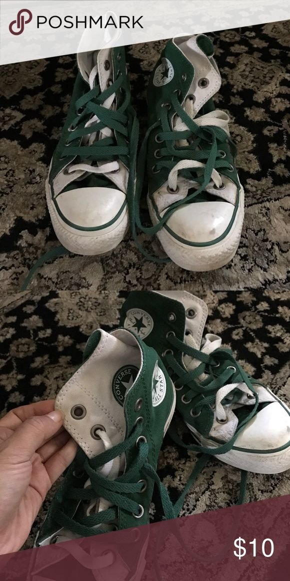 Converse high tops NEED GONE ASAP! Moving sale. Used. Unique. Green and white. Chucks Converse Shoes Sneakers