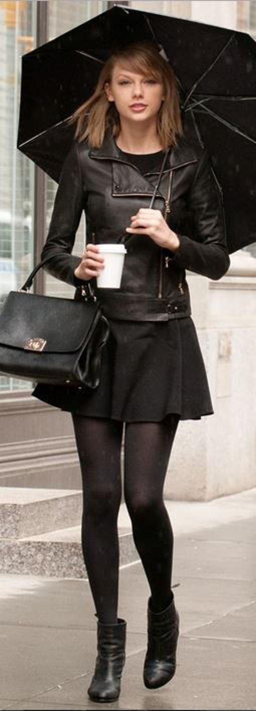Black leather jacket, black skirt, black tights, and black ankle boots!