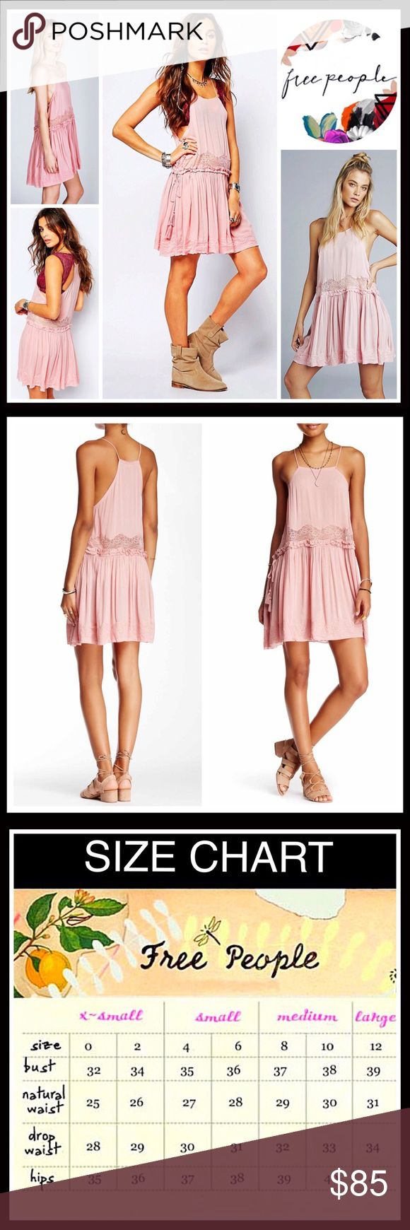 """FREE PEOPLE Slip Dress Crochet Lace Trim NEW WITH TAGS SIZING-Subtly oversized, XS = 0-2, L =12-14 FREE PEOPLE Slip Dress  * Racerback back & thin straps  * Square neck; Side tie details  * Pullover style & a relaxed fit   * Approx 33"""" long;  Lace trim hem & inset at waist  * Lightweight opaque fabric *  Crochet floral lace detail Fabric-100% rayon; Color- Pink   Search # Vintage like sun eyelet fit and flare slip cutout cocktail  No Trades ✅ Offers Considered/Bundle Discounts ✅ Free People…"""