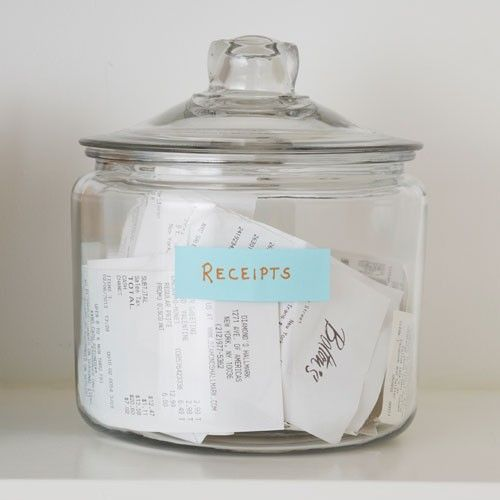 keep receipts organized in a cookie jar