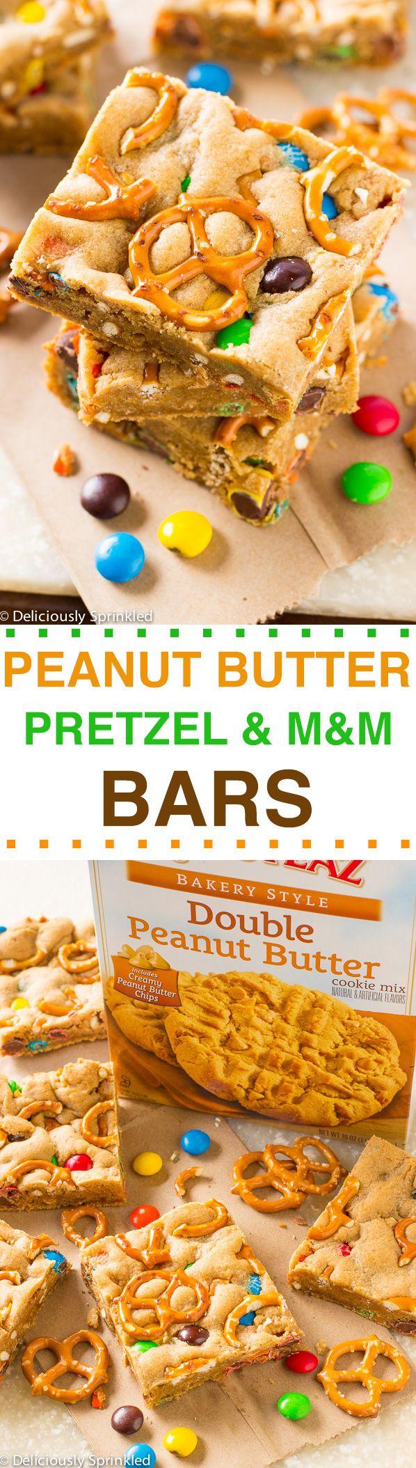 Peanut Butter Pretzel & M&M Bars