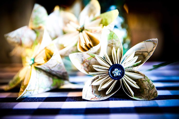 Kusudama flowers made from maps from Claire & Oli's Austrian themed wedding SMP Weddings: Sussex based female wedding photographer. Photojournalist creating highly atmospheric images which burst with personality and emotion