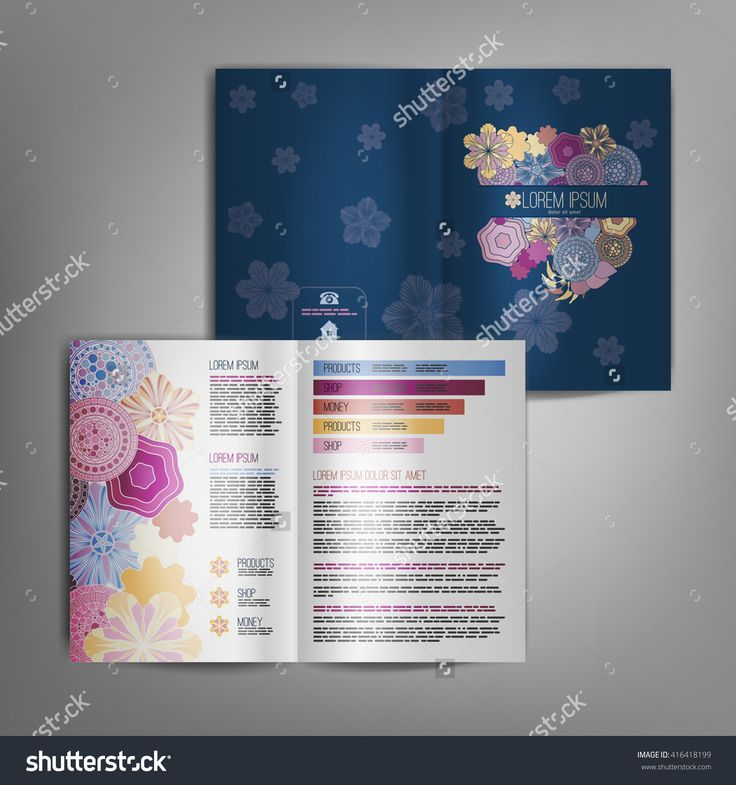 Business brochure design template with floral elements. Vector flyer layout, cover, poster design.