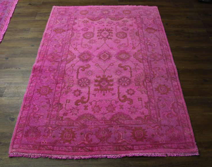4×6 HOT PINK RUG FUCHSIA USHAK OVER DYED HANDKNOTTED WOOL 2766   See