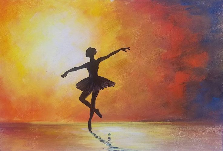 Ballerina Silhouette Ballet Dancer Acrylic Painting Tutorial #angelafineart