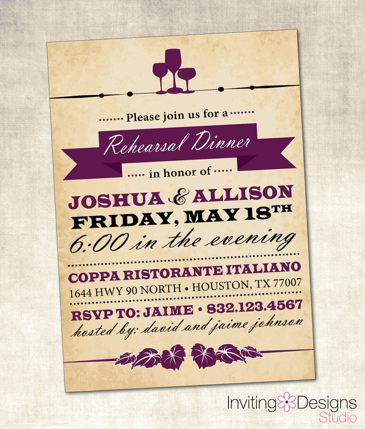 9 best Rehearsal Dinner Invitations images on Pinterest - printable dinner invitations