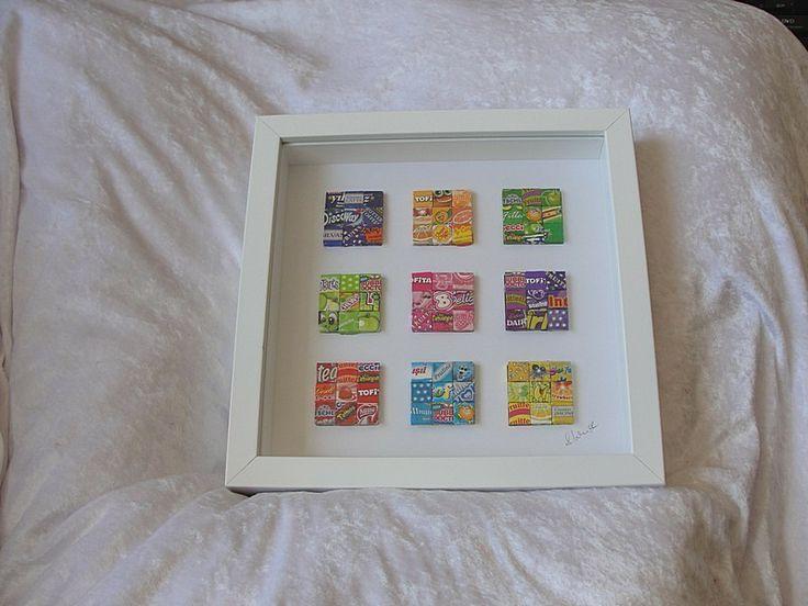 Buntes Bild aus Bonbonpapierchen von Recycling-Art auf DaWanda.com