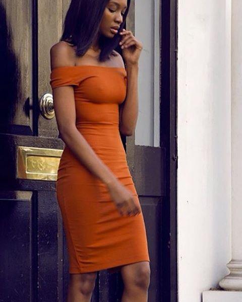 Natashandlovu® via @femmehunting ✔️ burned orange bodycon dress