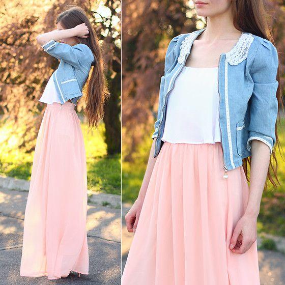 Sheinside Pink Maxi Dress, Tbdress Denim Jacket With Pearl Collar
