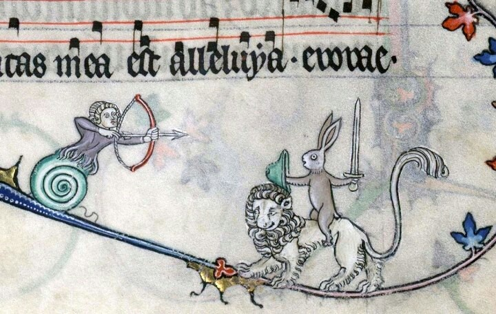 Lion-riding rabbit warrior... Summer volume of the Breviary of Renaud/Marguerite de Bar, Metz ca. 1302-1305 (Verdun, Bibliothèque municipale, ms. 107, fol. 89r). Discarding images.