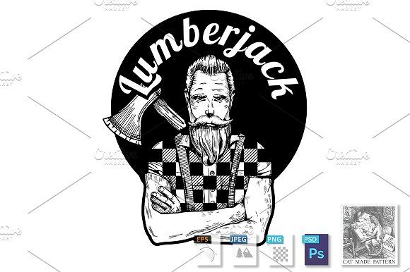 Lumberjack black and white portrait by CatMadePattern on @creativemarket