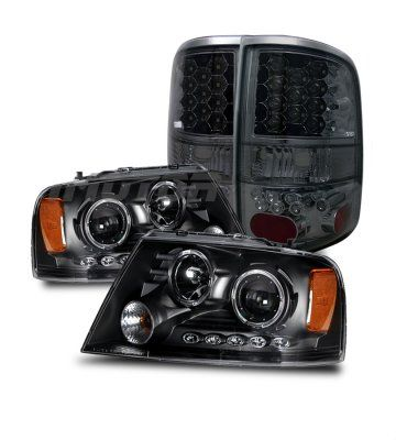 Ford F150 2004-2008 Black Projector Headlights and Smoked LED Tail lights