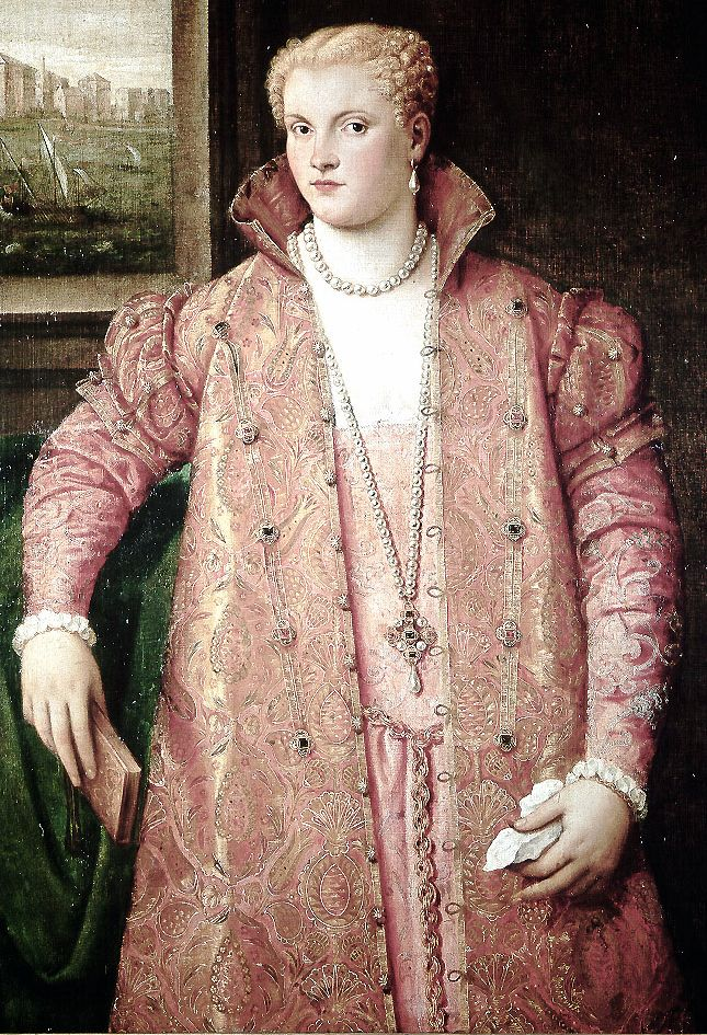 historical portrait | Trystan's Costume Closet - pink Venetian zimarra (loose overgown)  Portrait of a lady by Parrasio Micheli
