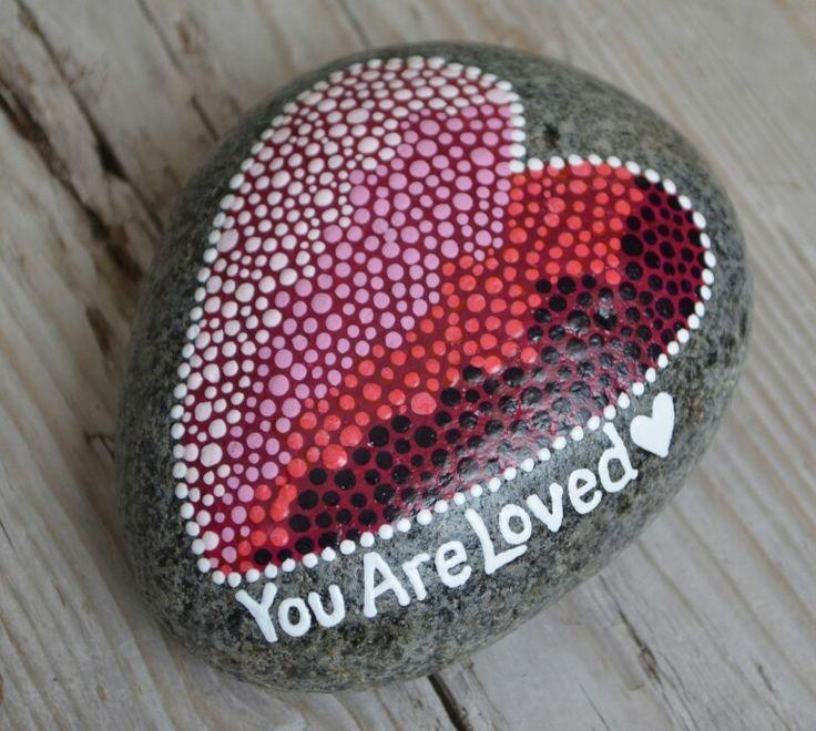 etsy.com/shop/BeachMemoriesByJools  ,   painted rock, painted stones,  heart art, dot painting, pointillism,  wellness  stone, stone art,