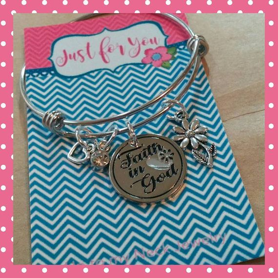 So, so sweet! Girls earning their Faith in God award will be so proud to wear this stainless steel expandable bracelet, in just their size. Comes with charms shown, in a white organza bag with a cute professionally printed card.