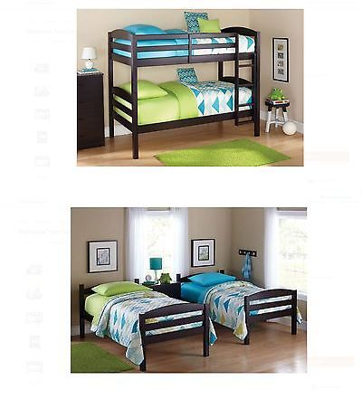 Kids Furniture: Mainstays Twin Over Wood Bunk Bed White Black Brown Gray Kids Bedroom Furniture BUY IT NOW ONLY: $187.32