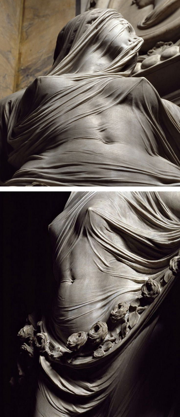 """Modesty"" by Antonio Corradini (Italian, 1688–1752), marble statue of veiled female with exquisite sculpture of translucent fabric, c. 1751. #arthistory"