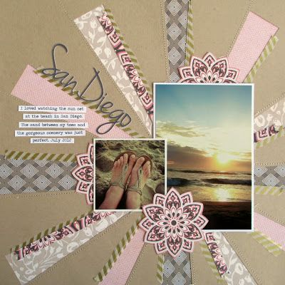 Attractive San Diego Scrapbook Layout by GCD Studios, using GCD cardstock naturally! For kraft cardstock like the one used as the base of this layout, visit www.cardstockshop.com.