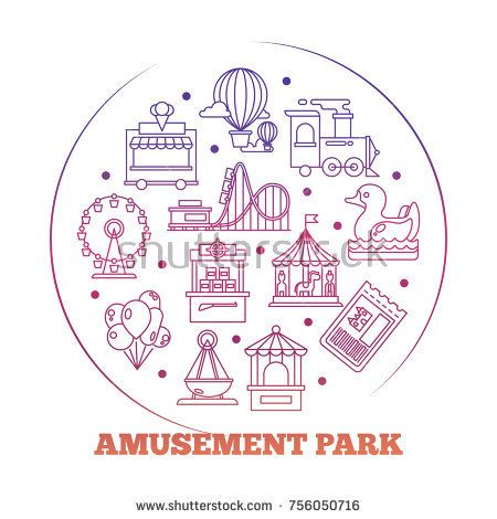 Stock Vector: Line icons flat amusement park round logo design. Vector illustration -