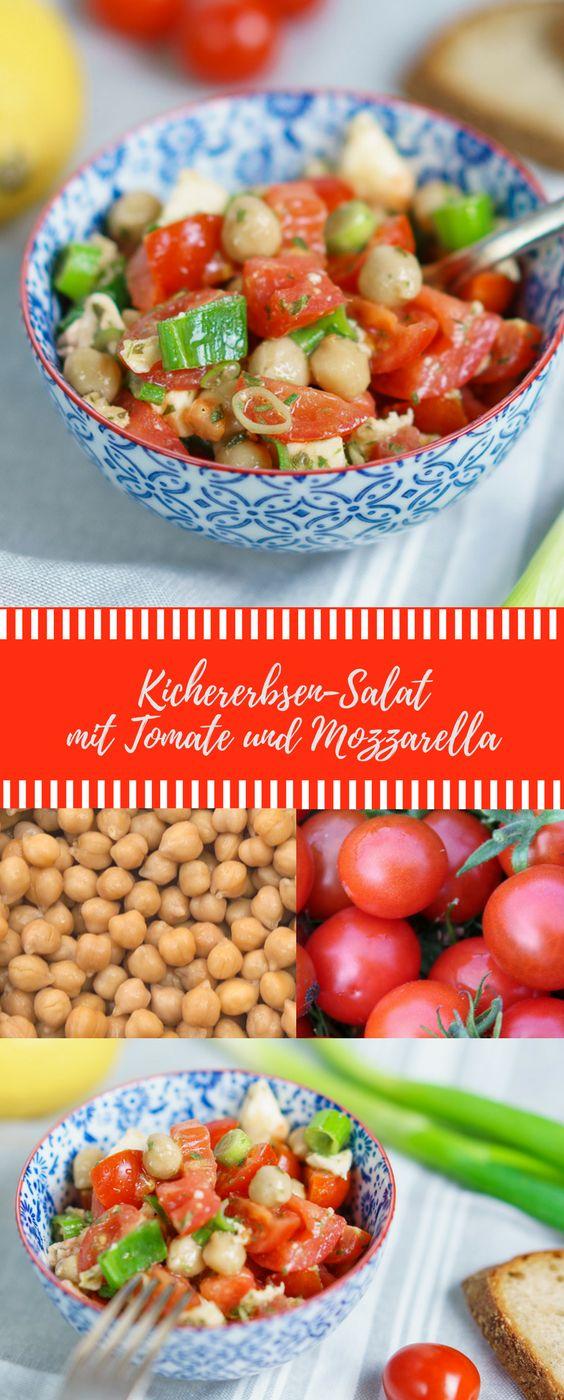 Salat mit Kichererbsen, Tomate und Mozzarella. Leckerer Salat #salat #abnehmen #kichererbsen #gesund #rezept #grillen #