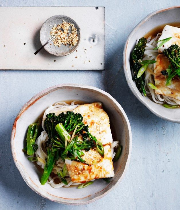 Healthy and fast, these Asian-sauced noodles are ideal after a long day at work, served with a hearty aromatic broth.