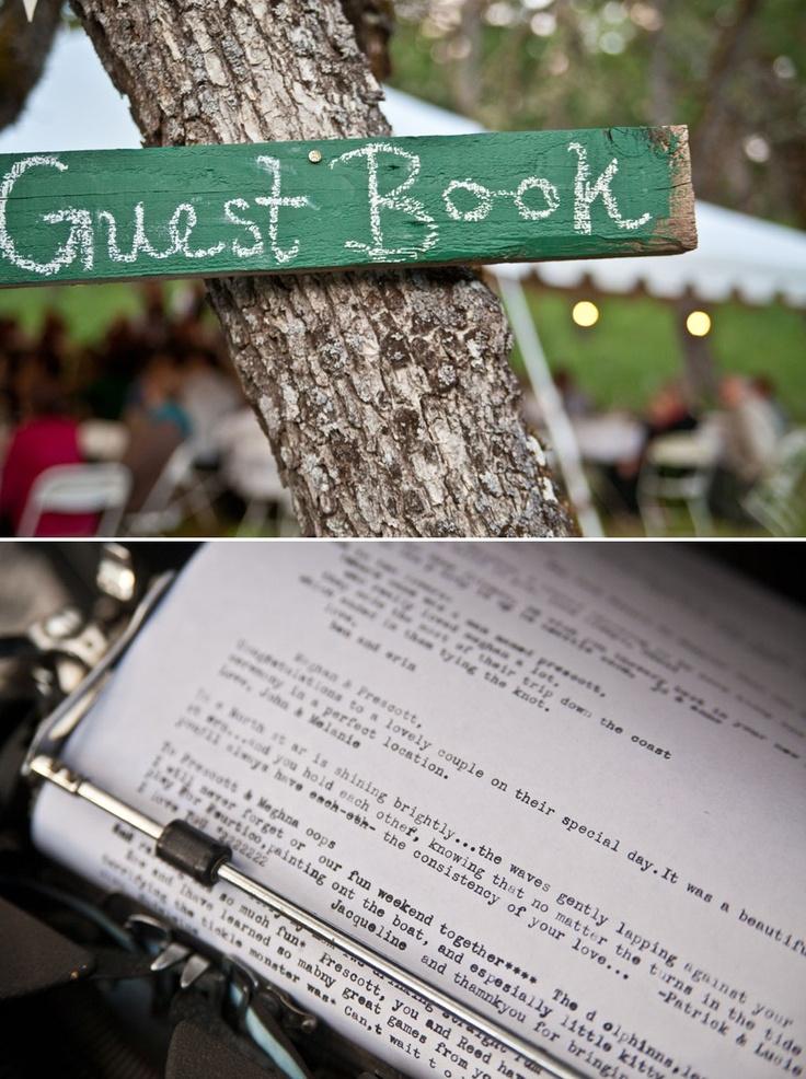 BridalHood typewriter guestbook I LOVE this idea