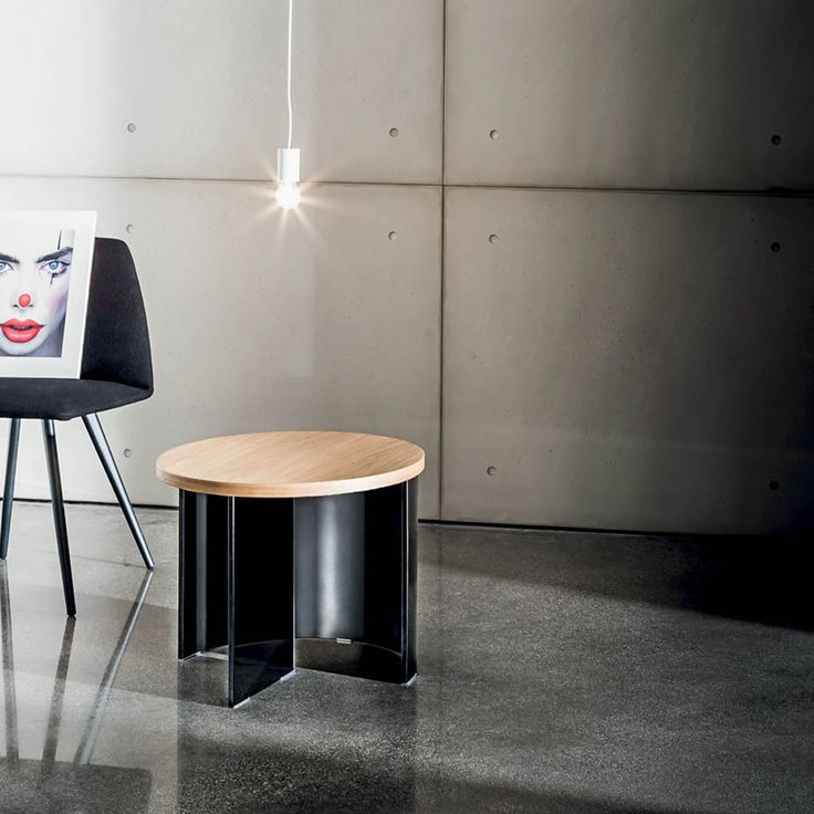 Regolo round coffee table  #glass #wood #smokedglass #design by #Lievore #Altherr #Molina #essential #collection