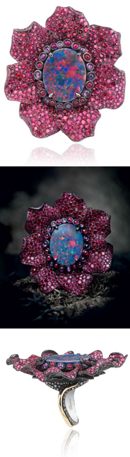 IN COLORFUL BLOOM: CHOPARD'S FLEURS D'OPALES CAPSULE COLLECTION The third creation showcases a wider spectrum of color in its 9-carat black opal, whose coveted red play-of-color is amplified by the ruby and purple sapphire pistils surrounding it. The fiery hue is further echoed in the pink spinel petals, which are made of zirconium. Black diamond-set rose and white gold entwine to form the body of the ring.