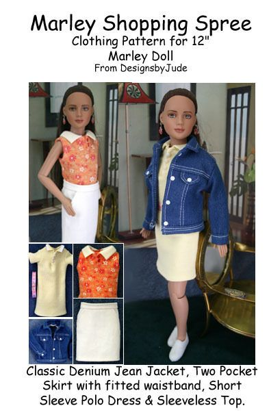 """Shopping Spree Doll Clothes Sewing Pattern 12"""" Marley & 14"""" Patience Tonner #DesignsbyJude"""