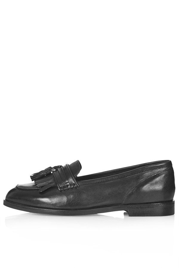 $75, Black Leather Tassel Loafers: Topshop Black Leather Loafers With Fringing And Tassel Detailing 100% Leather Specialist Clean Only. Sold by Topshop. Click for more info: https://lookastic.com/women/shop_items/87965/redirect