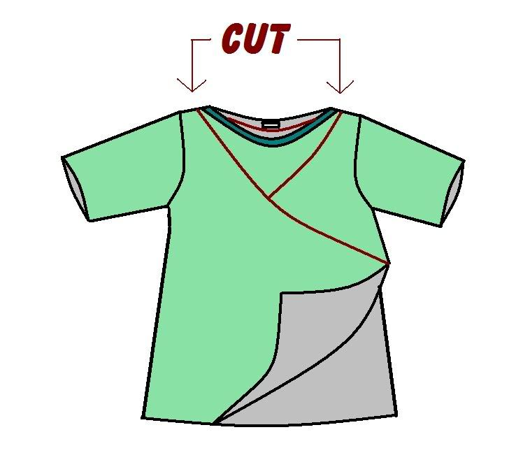Turn large t-shirt into wrap top (breastfeeding friendly).  Quick gift for preger friends.
